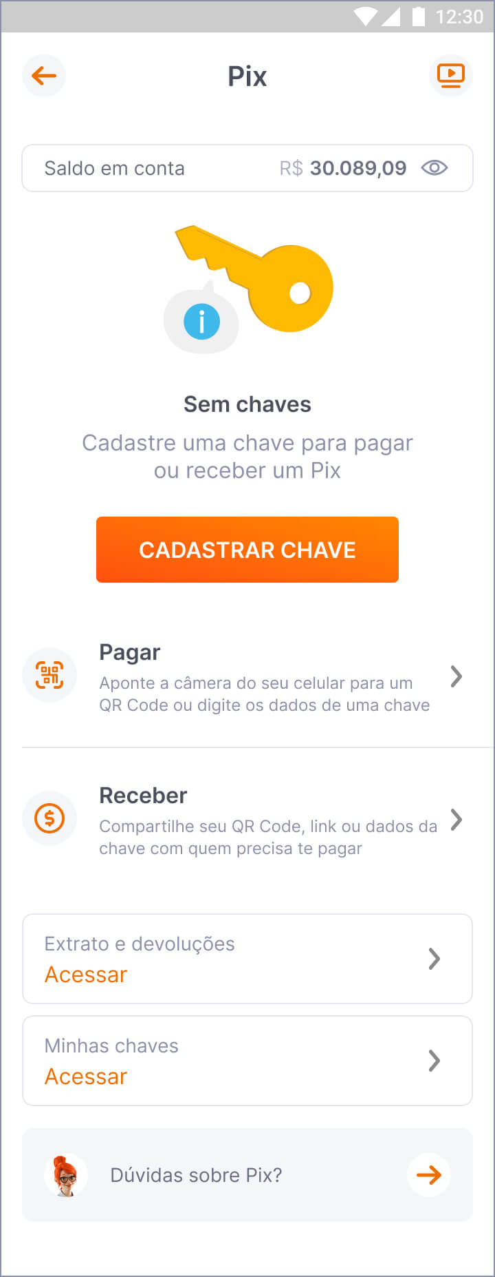 Screenshot da tela de lista de chaves do PIX no app do Banco Inter