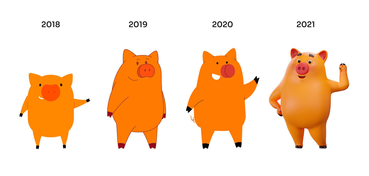 Desenho exibe 4 animações do Interpig com diferentes características, lado a lado, mostrando a evolução do personagem de 2018 a 2021.