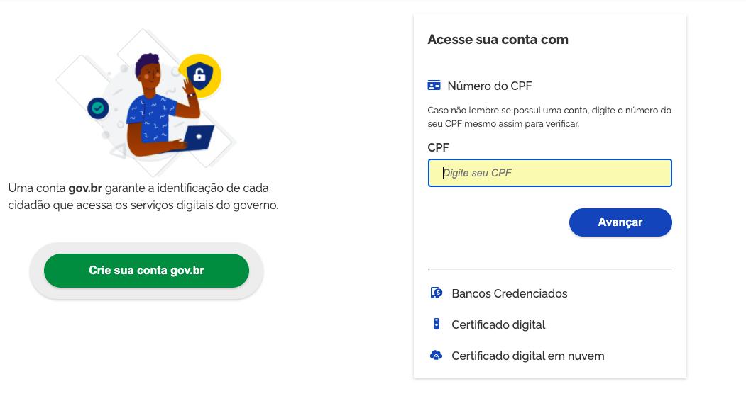 Screenshot do portal do empreendedor. Página de login
