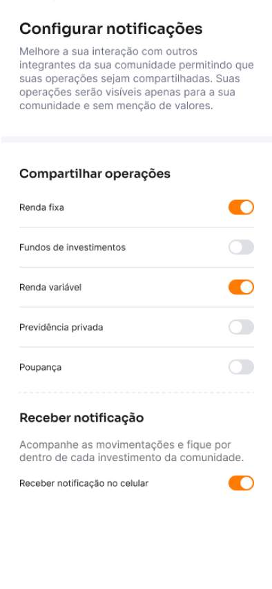 screenshot do aplicativo Inter para ativar configurações