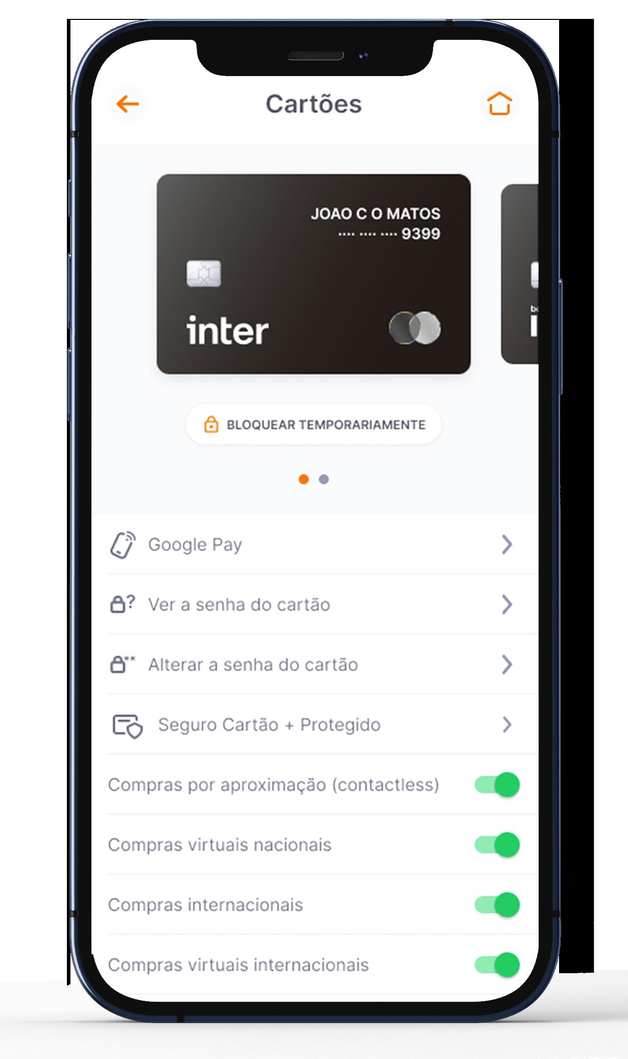 Screenshot do aplicativo Inter na aba que mostra as travas de segurança.