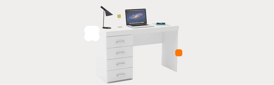 Mesa para Computador ou Escritório Politorno Malta com 4 Gavetas – Branco