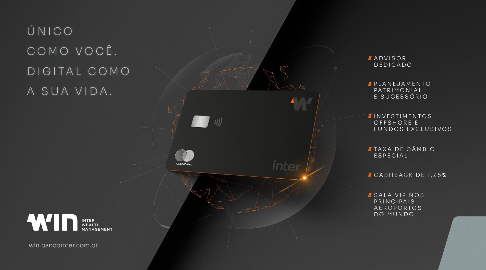 Imagem mostra um cartão no centro e com bullet points citando as vantagens do cartão.