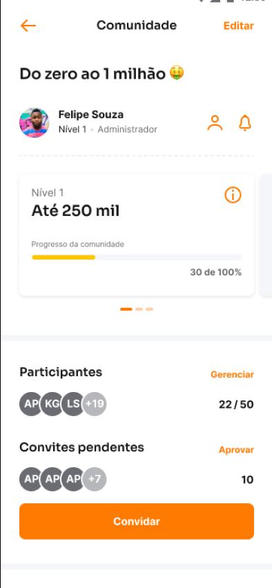 screenshot do aplicativo Inter na aba de convidar amigos.